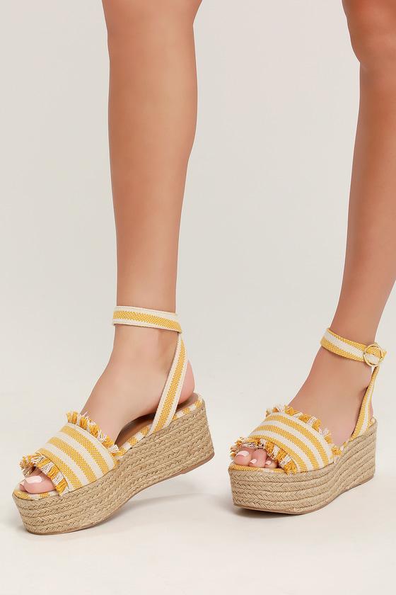 9a32f1321e6e5 Daphnie Yellow and Beige Striped Espadrille Platform Sandals