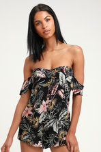 25af0edaabd7 Oaklynn Black Satin Floral Print Skort Dress.  62. Libre Black Tropical  Print Off-the-Shoulder Romper