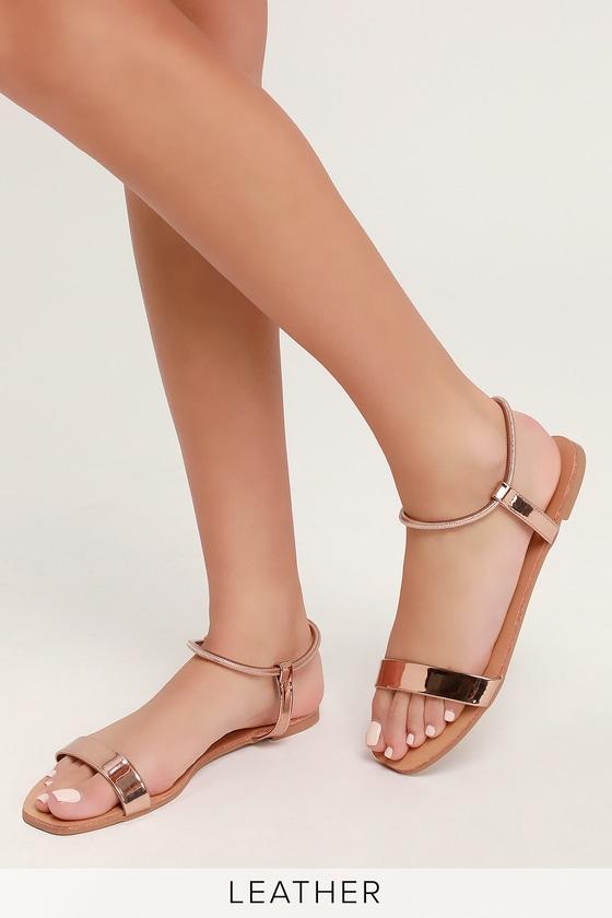 Zaira Rose Gold Patent Flat Sandal Heels - Lulus