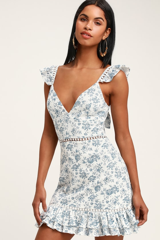 Skye Rose Blue and White Floral Print Mini Dress