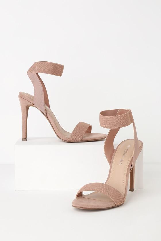 5be72ad49d18 Madden Girl Lonie - Nude Heels - Elastic Ankle Strap Heels