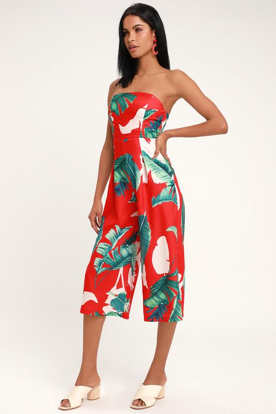 369c0180662f Cute Red Jumpsuit - Tropical Print Jumpsuit - Culotte Jumpsuit