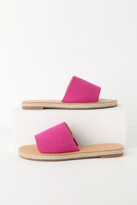 6bdd13ff757 Cute Fuchsia Sandals - Slide Sandals - Pink Espadrille Sandals