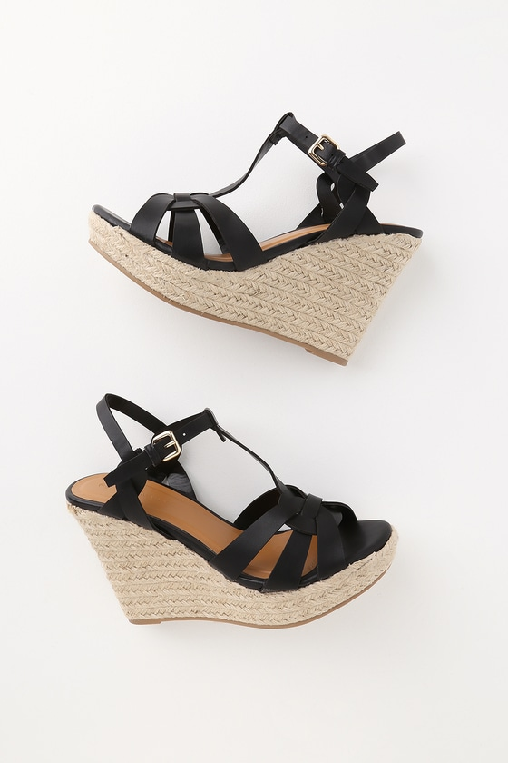 1da6ab0643 Cute Black Espadrille Wedges - Vegan Leather Wedge Sandals