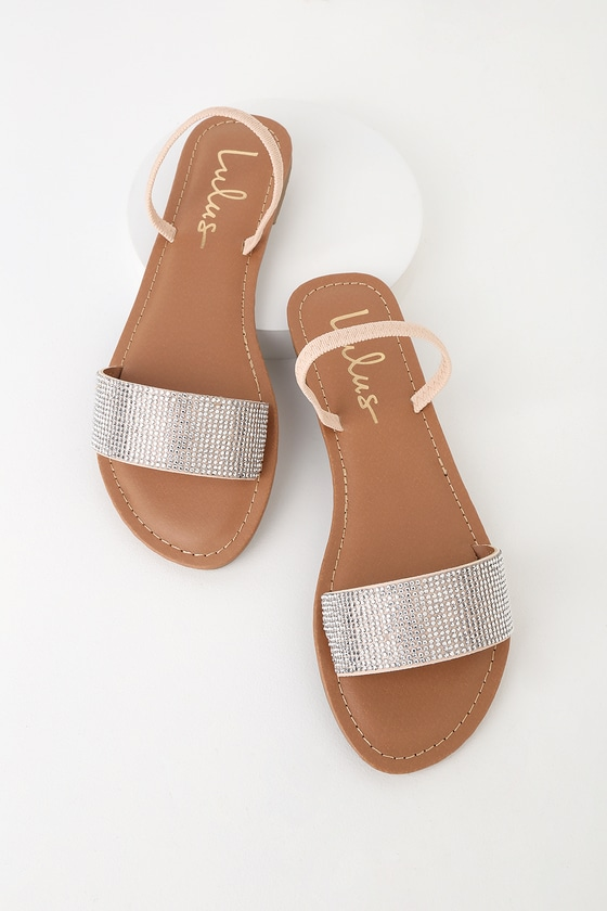 eb9913a3731a Tan Rhinestone Sandals - Flat Sandals - Vegan Sandals