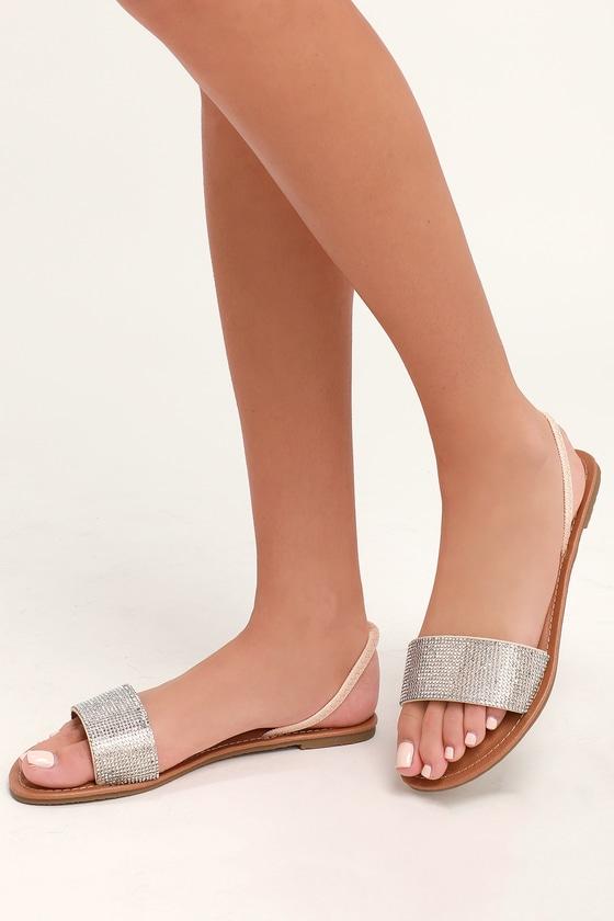 Tan Rhinestone Sandals - Flat Sandals - Vegan Sandals