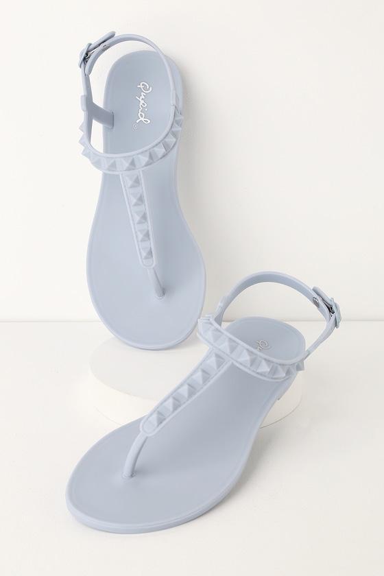 43cdc47050e Trendy Studded Sandals - Ash Blue Sandals - PVC Sandals