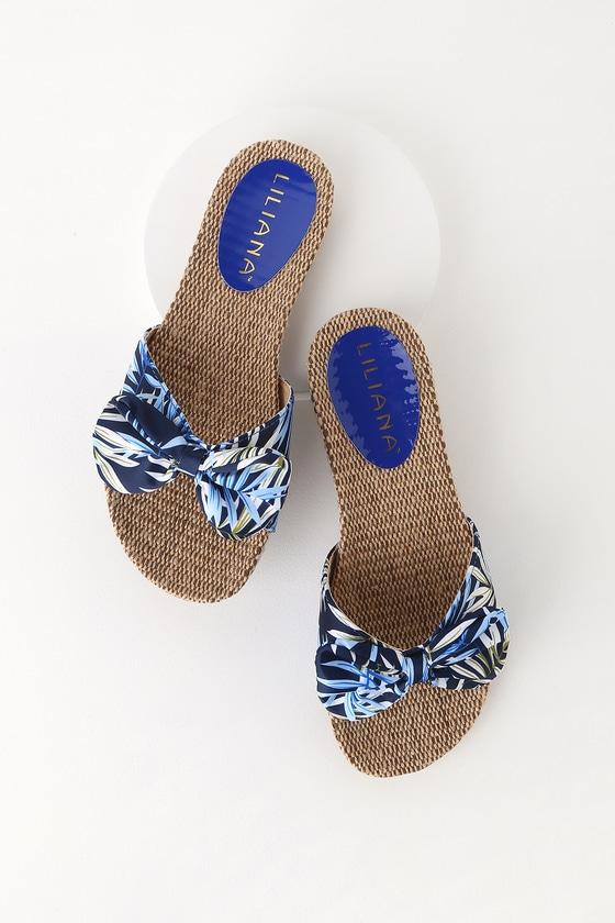 80ca20a5190 Cute Blue Print Sandals - Palm Print Sandals - Slide Sandals