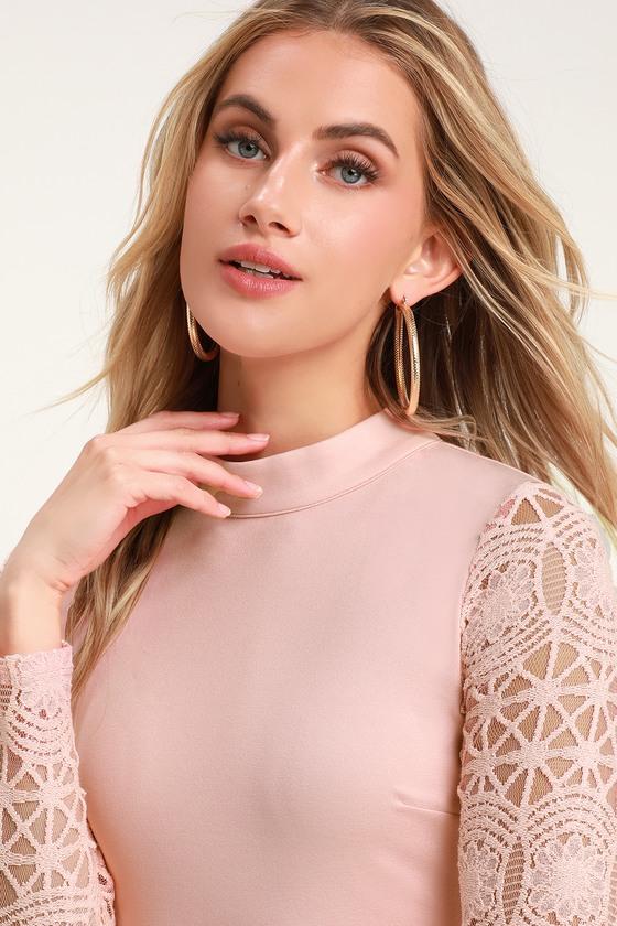 332c3fe3fbd5 Sexy Blush Pink Dress - Lace Long Sleeve Dress - Bodycon Dress