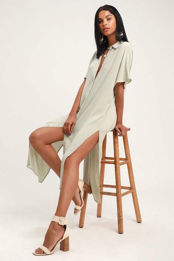 856a57659545 Amuse Society Tranquilo - Light Sage Button-Up Dress - Midi Dress