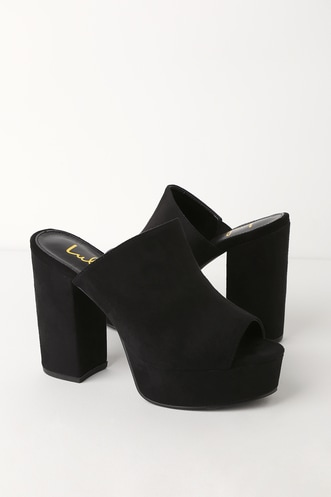 260651656cd Lulus Chandra Black Suede Platform Mules.  33 · Juliene Nude Suede High  Heel Sandals