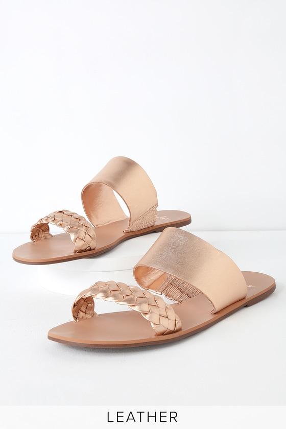 Chic Rose Gold Slide Sandals - Leather