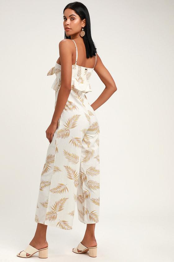 2e039aa5383 Billabong x Sincerely Jules Twist Flirt - White Print Jumpsuit