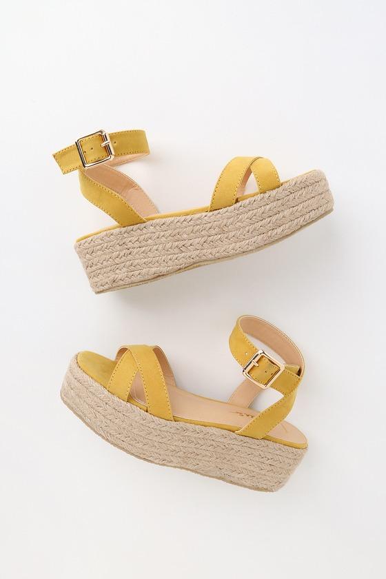 Cobi Yellow Suede Espadrille Platform Sandals by Lulus
