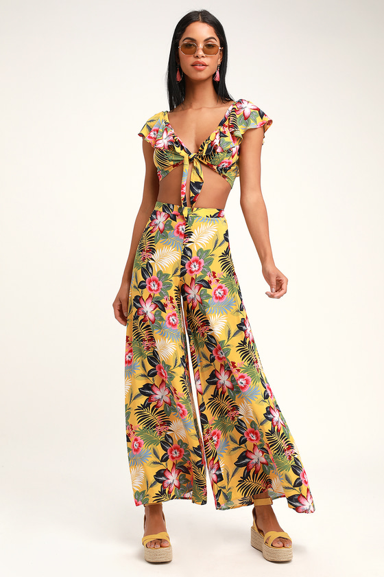 Vintage Rompers | Retro, Pin Up, Rockabilly Playsuits Passport to Paradise Yellow Tropical Print Two-Piece Jumpsuit - Lulus $74.00 AT vintagedancer.com