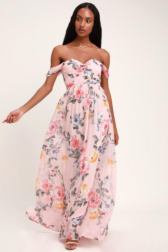 5a5845446d Stunning Blush Maxi Dress - Floral Print Maxi Dress - OTS Maxi