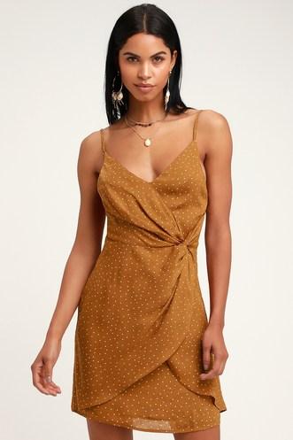 9b0f98b2abb Missy Rust Orange Polka Dot Satin Knotted Front Mini Dress