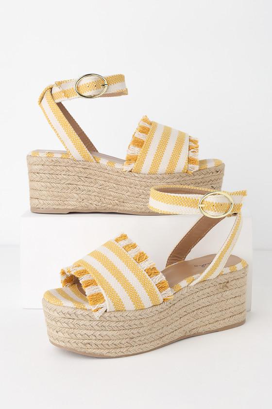 13e3f444fa Daphnie Yellow and Beige Striped Espadrille Platform Sandals