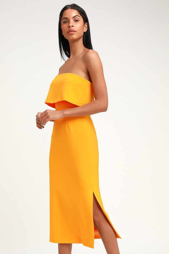 C/MEO Entice - Yellow Midi Dress - Strapless