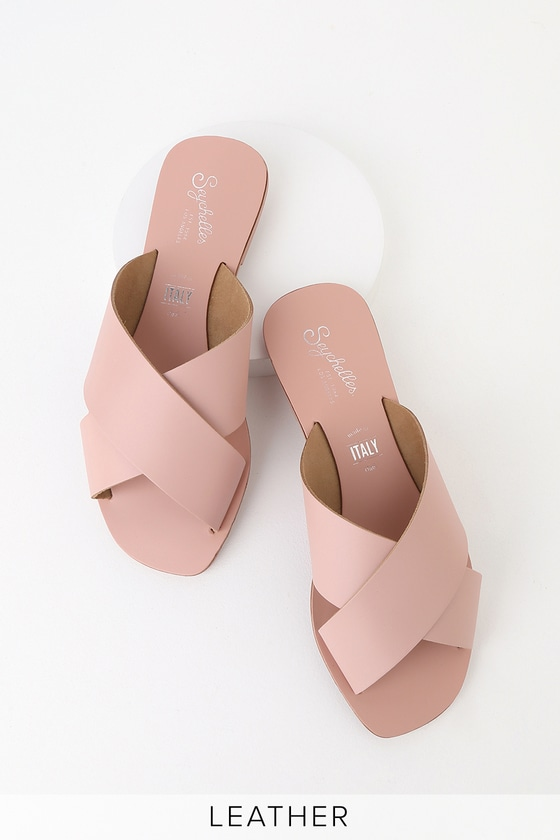 12b426a3a Seychelles Total Relaxation - Pink Slides - Leather Slide Sandals