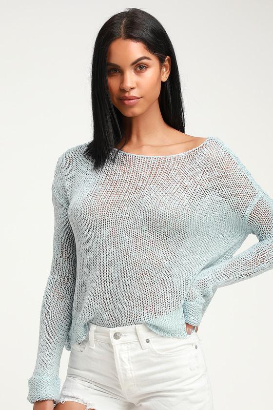 479ce3c20d32 MINKPINK Josie - Loose Knit Sweater - Light Blue Sweater - Top