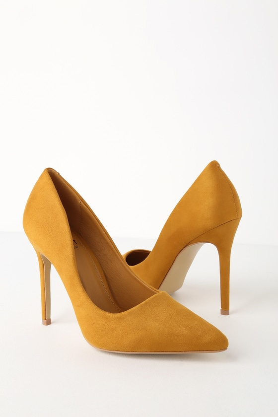 cb96f3f40d8 Chic Mustard Heels - Vegan Suede Pumps - Pointed Toe Pumps