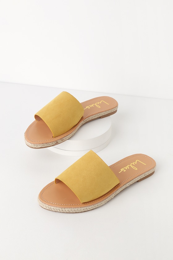 d6fccfcb9f1 Cute Yellow Sandals - Slide Sandals - Espadrille Sandals