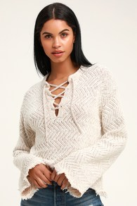 Palms for Daze Beige Lace-Up Knit Sweater b1ff139ac