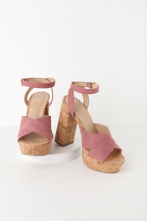 749ad957aa Cute Dusty Rose Heels - Suede Heels - Crisscrossing Tall Heels