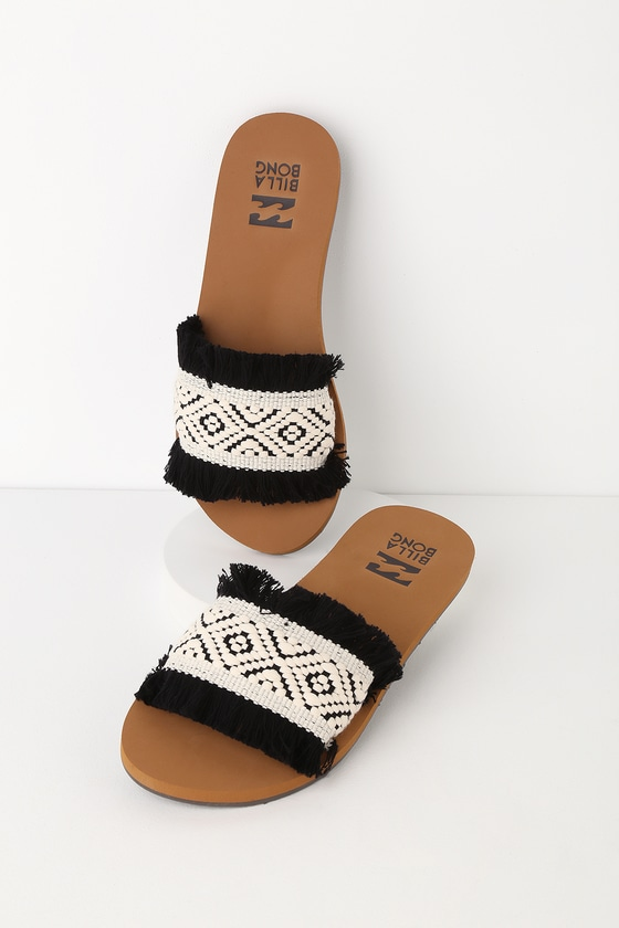 f5a634eb6 Billabong One Way - Black and White Woven Sandals - Slide Sandals