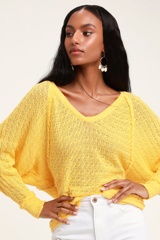 Free People Thien S Hacci Cute Yellow Sweater Long