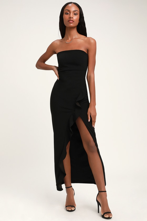 37b830208358 Sexy Black Maxi Dress - Strapless Maxi Dress - Mermaid Dress