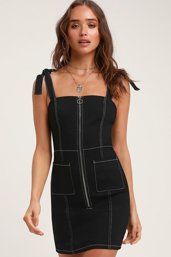 ec1d59dee138 BB Dakota Read My Zips - Black Denim Dress - Zip-Front Mini Dress