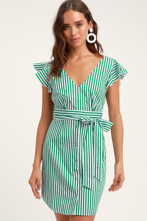 Peppermint Green Striped Shirt Dress
