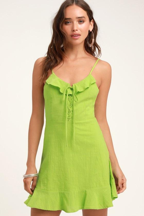 7025c7fceead6 Cute Lime Green Dress - Lace-Up Dress - Lace-Up Mini Dress