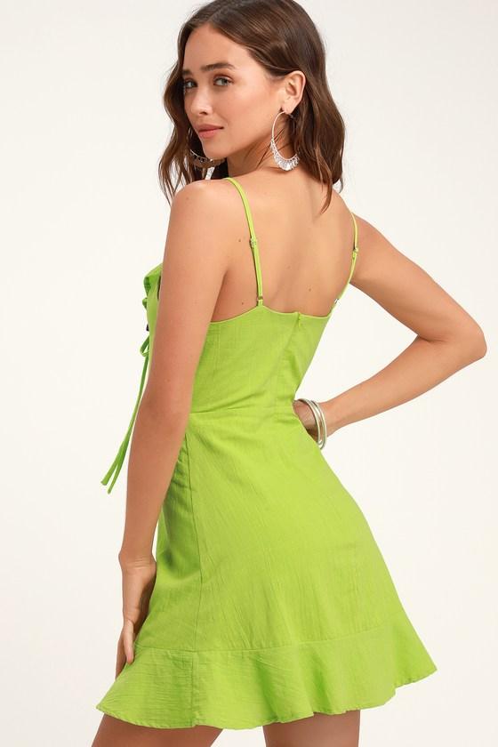b47de059ef Cute Lime Green Dress - Lace-Up Dress - Lace-Up Mini Dress
