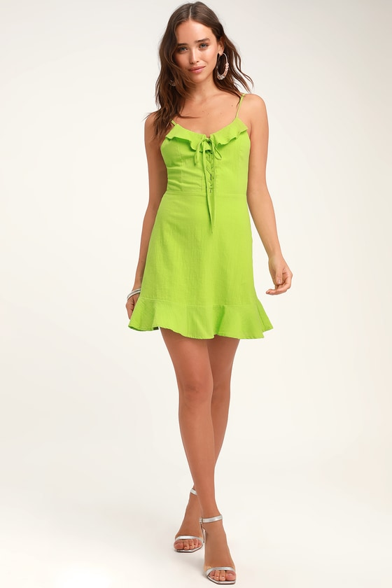 a1820df7207ca Cute Lime Green Dress - Lace-Up Dress - Lace-Up Mini Dress