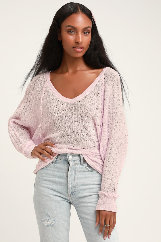 a66977f08038 Free People Thien's Hacci - Cute Pink Sweater - Long Sleeve Top