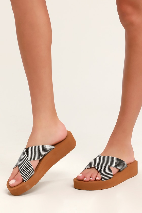 5fbd0cae0331 Billabong Boardwalk - Black and White Striped Sandals - Flatforms