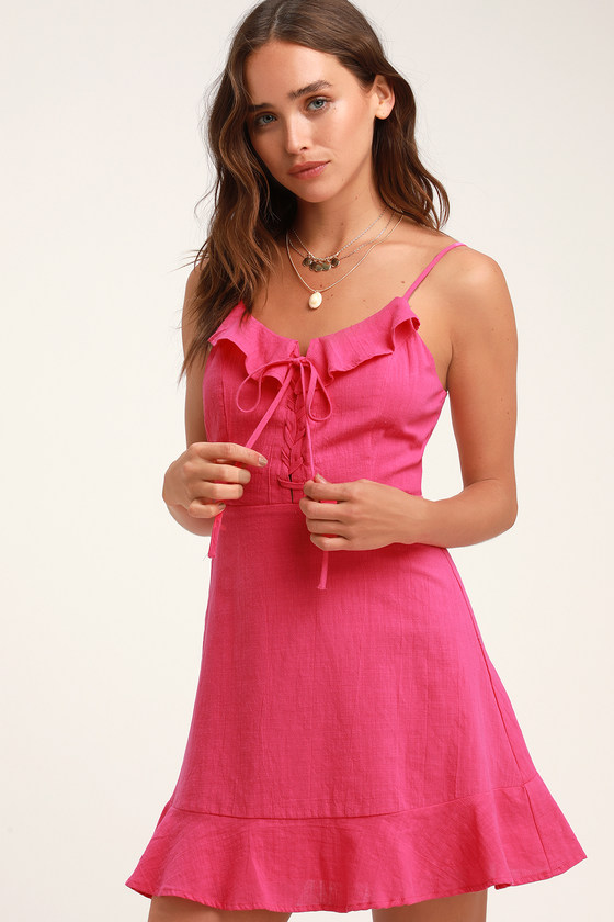 Cute Hot Pink Dress - Lace-Up Dress - Lace-Up Mini Dress 36f4e7d30