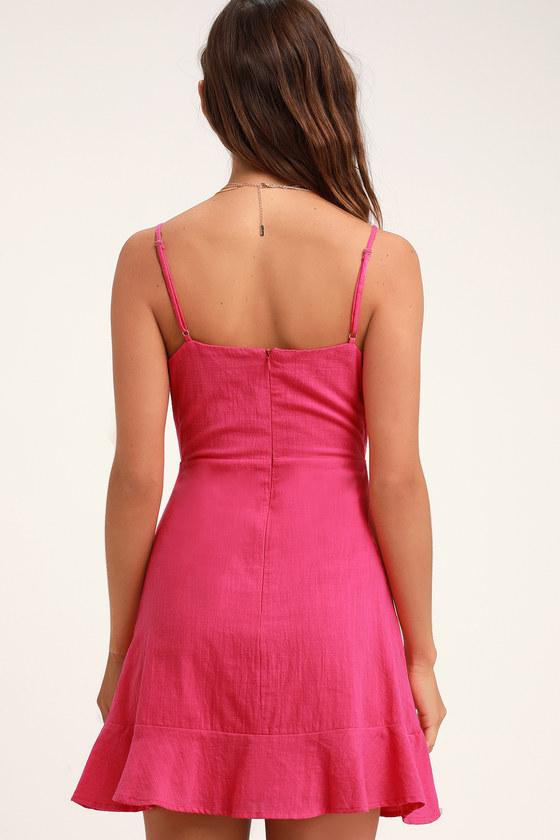 42e23f11e28 Here to Dance Hot Pink Lace-Up Mini Dress