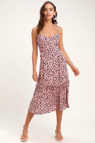 Cheyanne Mauve Pink Leopard Print Midi Dress 8394e574e6c3