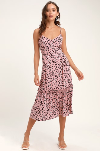 88e0d53451 Cheyanne Mauve Pink Leopard Print Midi Dress