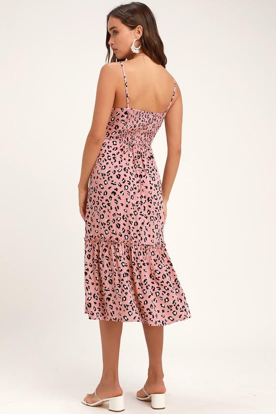 0e350252ce8 Cute Pink Leopard Print Dress - Tiered Midi Dress - Mauve Dress