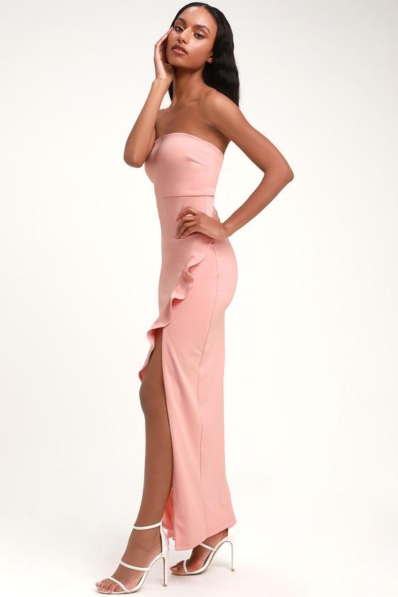 7753a479cd2da Sexy Blush Pink Maxi Dress - Strapless Maxi Dress - Mermaid Dress