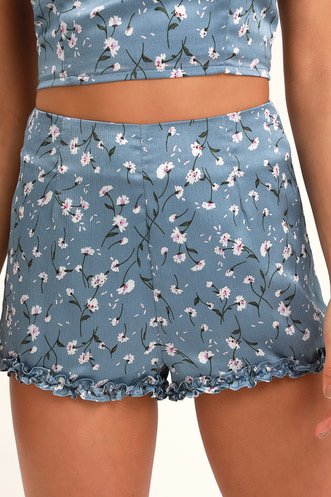 b6d4f725af Bellaire Dusty Blue Floral Print Ruffled Shorts