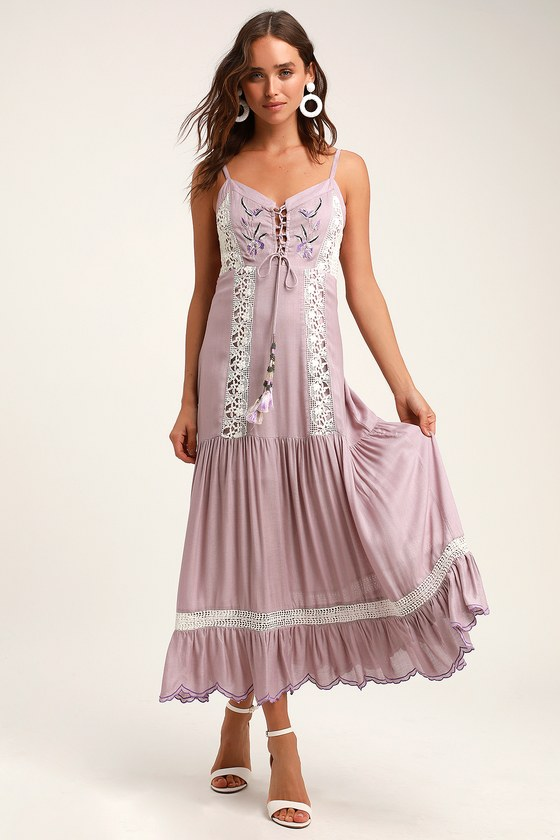 c698d0cb75 Q&A7 - Dusty Lavender Maxi Dress - Embroidered Maxi Dress