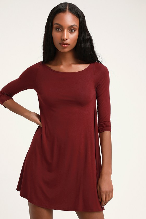 In Full Swing Wine Red Three Quarter Sleeve Swing Dress by Lulus