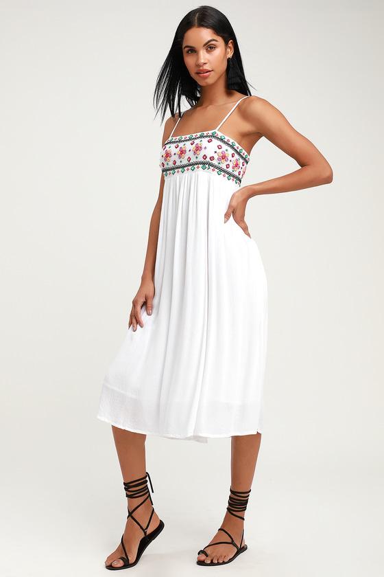 70s Dresses – Disco Dress, Hippie Dress, Wrap Dress Free and Breezy White Embroidered Midi Dress - Lulus $43.00 AT vintagedancer.com