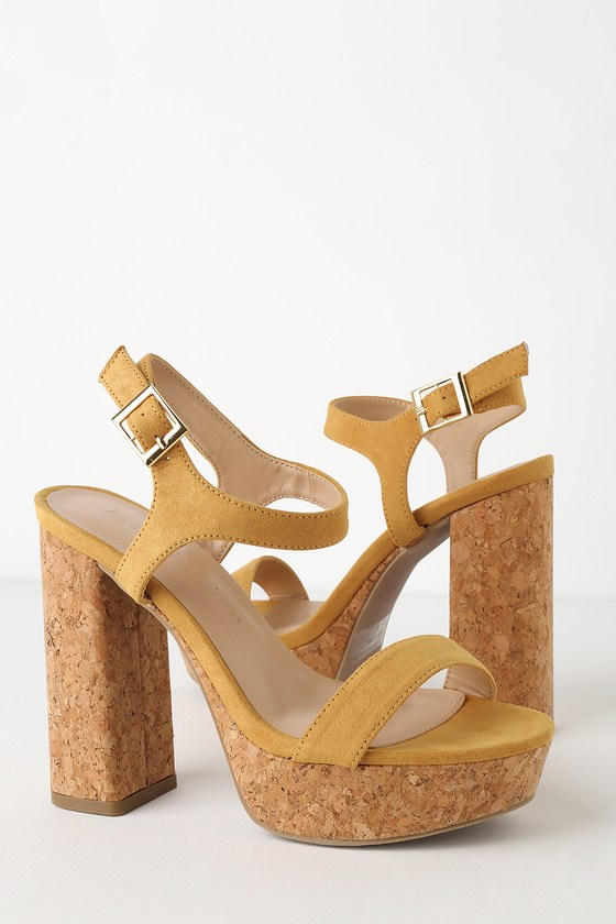 Yellow platform sandals - graduation shoes